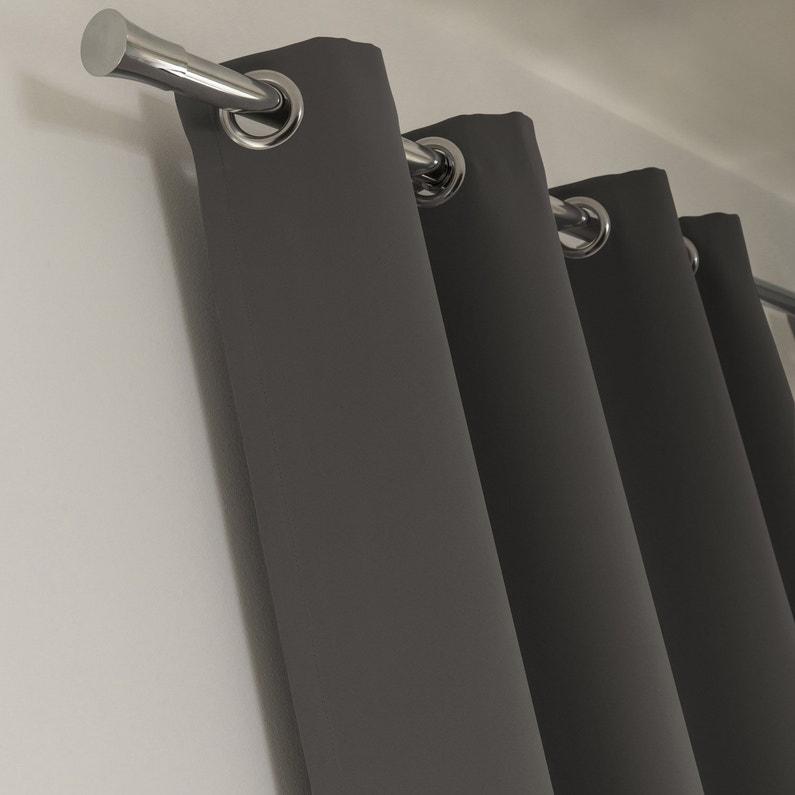 Rideau occultant, Blackout, gris galet n°1, l.140 x H.260 cm INSPIRE