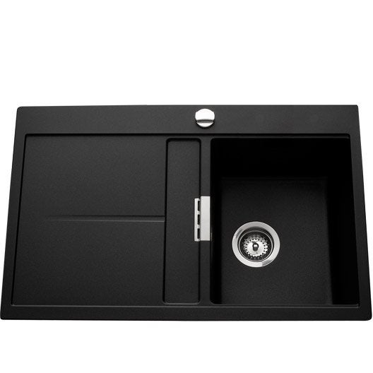evier encastrer quartz et r sine noir arabesque 1 bac avec gouttoir leroy merlin. Black Bedroom Furniture Sets. Home Design Ideas