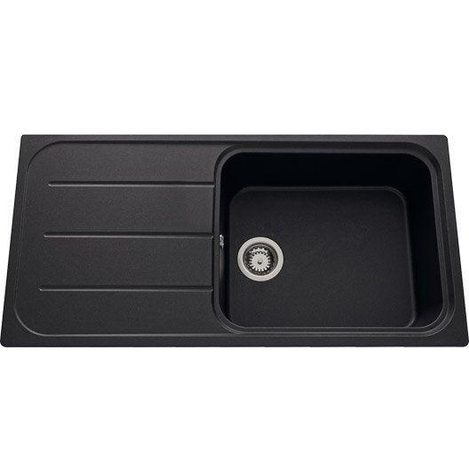 Evier encastrer quartz et r sine noir ev39011lm 339 for Evier resine noir entretien