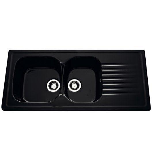 evier encastrer c ramique noir kara 2 bacs avec gouttoir leroy merlin. Black Bedroom Furniture Sets. Home Design Ideas