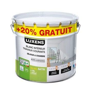 Peinture blanche mur et boiserie travaux courants LUXENS, satin 12 l