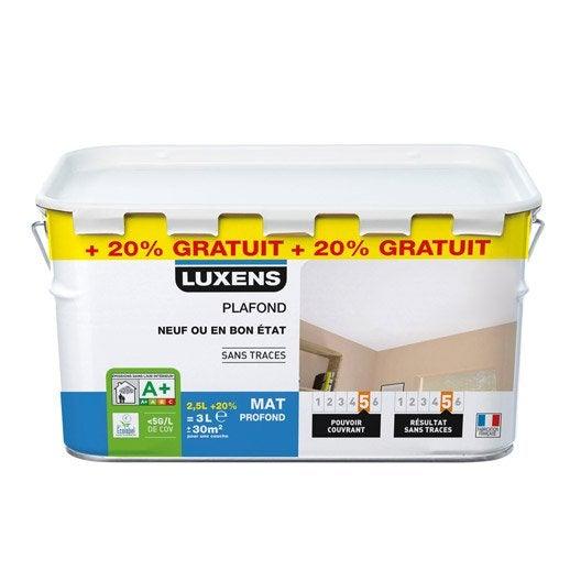 Peinture blanche plafond Neuf ou bon état LUXENS, mat profond 3 l