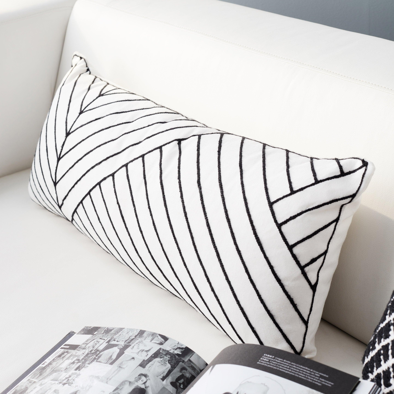 Coussin Alecto INSPIRE, blanc / noir l.30 x H.30 cm