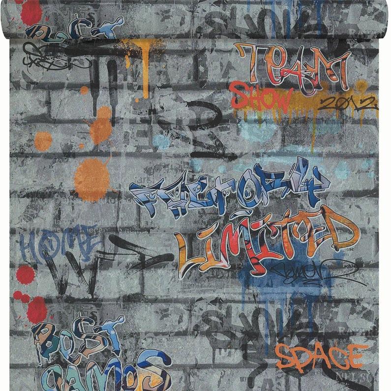 Papier Peint Papier Tag Conversational Gris Orange Bleu Leroy