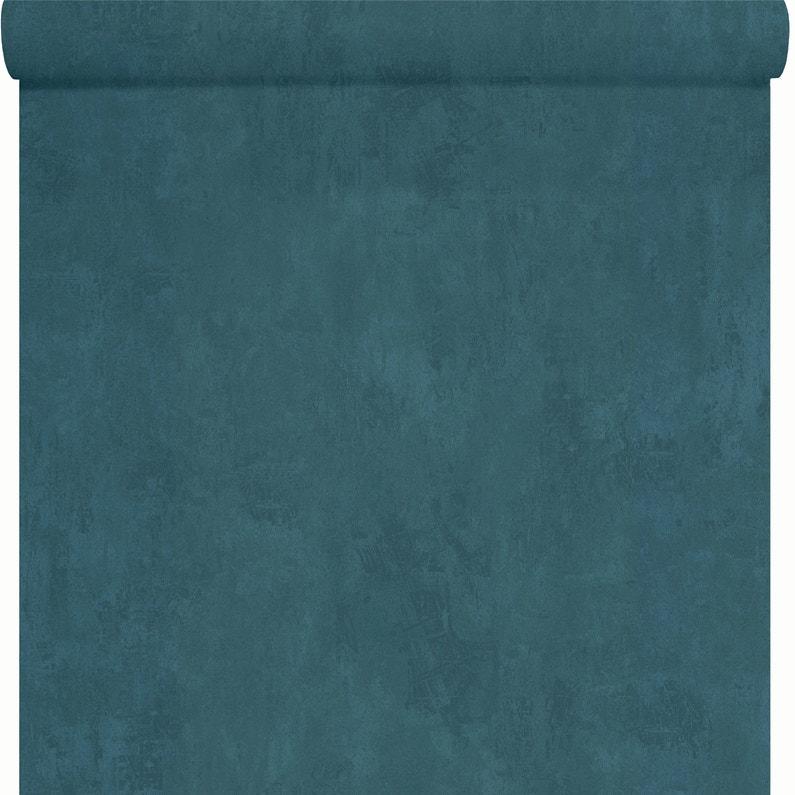 Papier Peint Papier Les Aventures Uni Bleu Canard Leroy Merlin