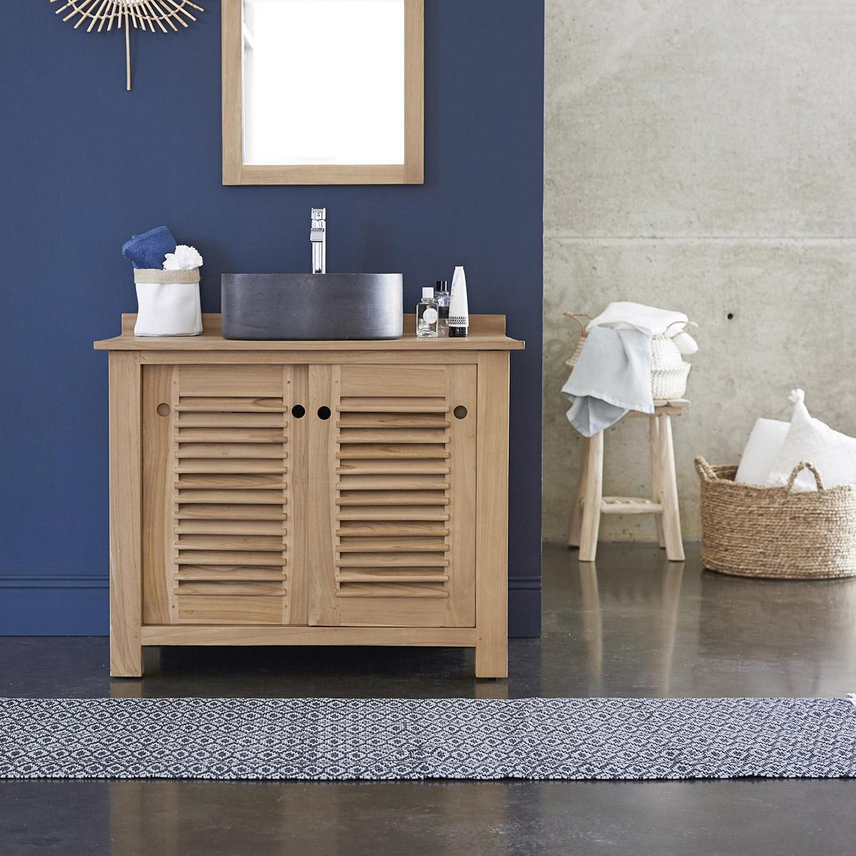 Meuble simple vasque l.95 x H.75 x P.55 cm, teck, Coline