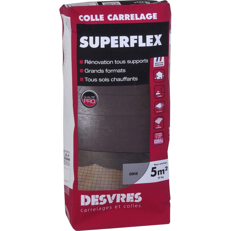 Mortier Colle Superflexible Pour Carrelage Mur Et Sol 25 Kg Gris  ~ Comment Faire Pour Coller Du Carrelage Sur Du Boi