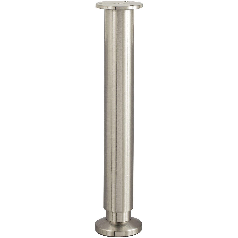 Grand Ilot Central Pas Cher ~ Pied De Lit Sommier Cylindrique R Glable Aluminium Chrom Gris De