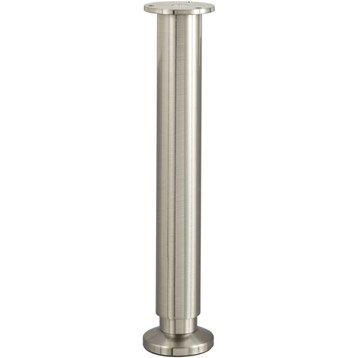 Pied de lit / sommier cylindrique réglable aluminium chromé gris, de 30 à 32 cm