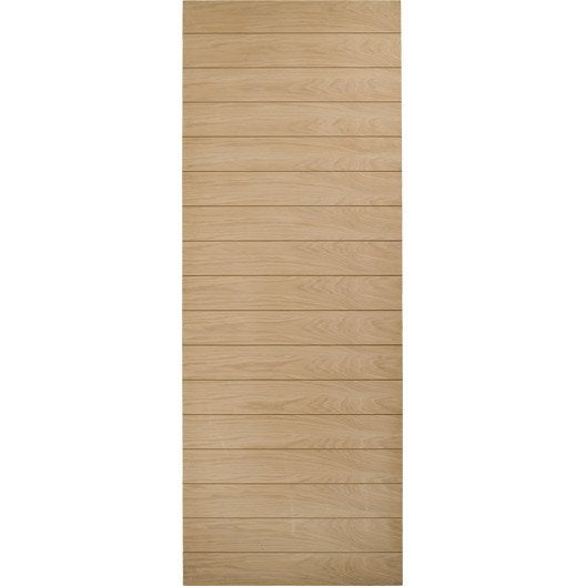 Porte coulissante ch ne plaqu marron odessa artens 204 x 73 cm leroy merlin - Porte coulissante chene ...