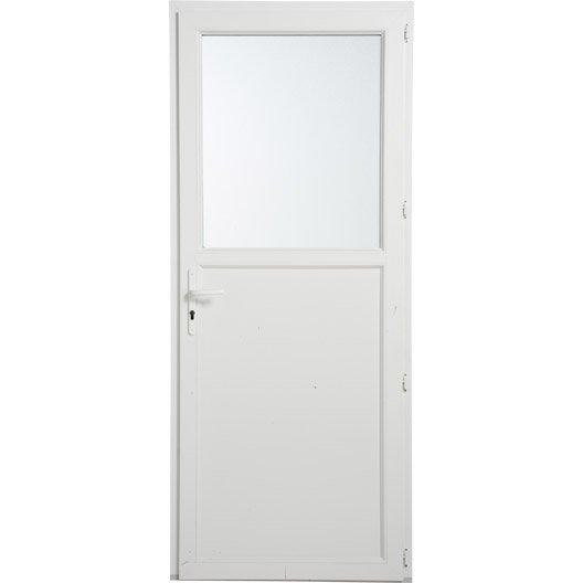 Porte de service pvc poussant gauche h200 x l90 cm - Porte entree pvc leroy merlin ...