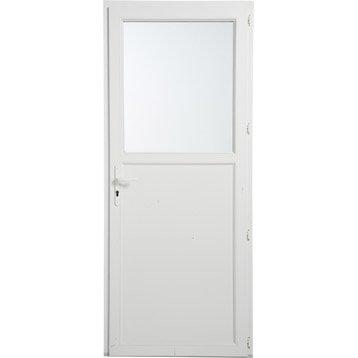 Porte de service pvc poussant gauche, H.200 x l.90 cm