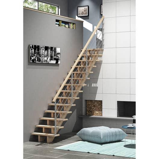 escalier droit allure c ble structure bois marche bois leroy merlin. Black Bedroom Furniture Sets. Home Design Ideas