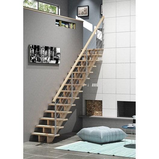 escalier quart tournant bas gauche allure c ble structure bois marche bois leroy merlin. Black Bedroom Furniture Sets. Home Design Ideas