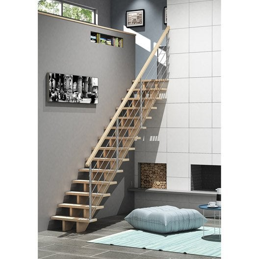 escalier quart tournant bas droit allure tube structure bois marche bois leroy merlin. Black Bedroom Furniture Sets. Home Design Ideas
