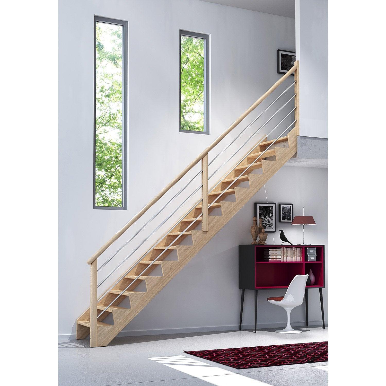 Escalier Quart Tournant Bas Droit Biaiz Câble Structure Bois Marche