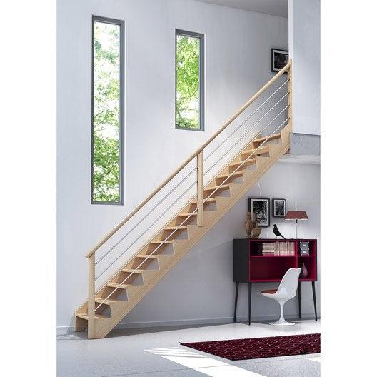 Escalier droit biaiz tube structure bois marche bois - Marche escalier leroy merlin ...