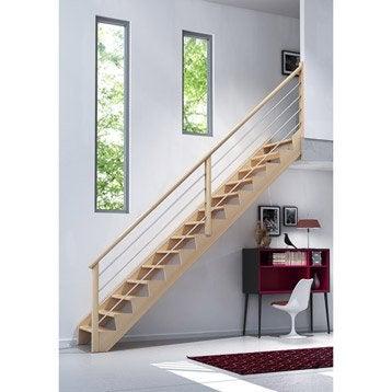 escalier biaiz c ble quart tournant en bois massif 13 marches. Black Bedroom Furniture Sets. Home Design Ideas