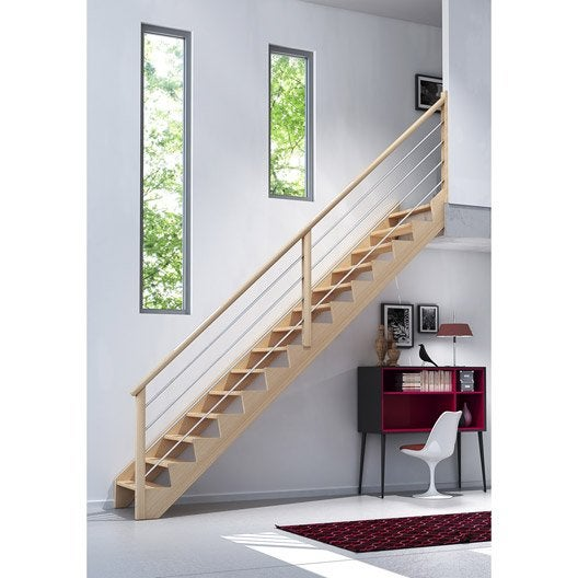 Escalier droit biaiz cable marches structure bois massif - Planche chene massif leroy merlin ...