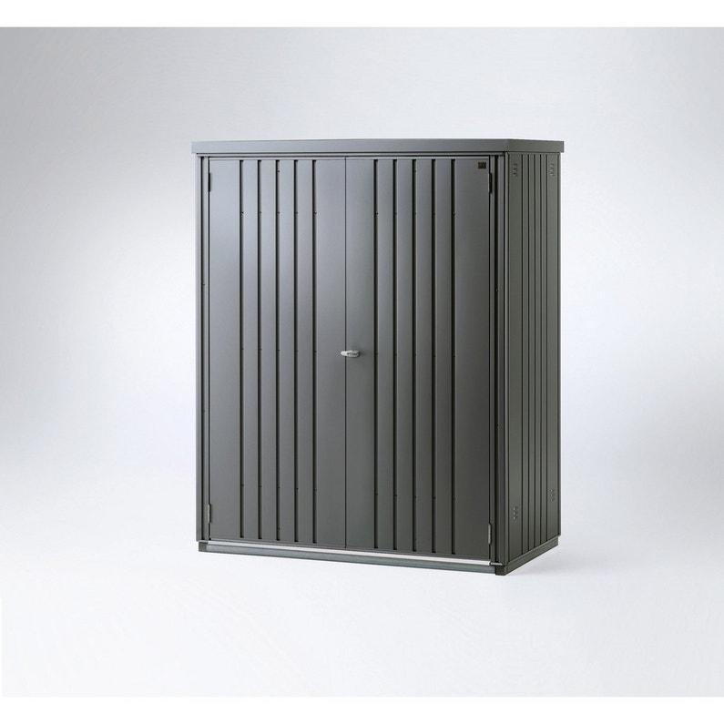 Armoire de jardin métal gris foncé, l.155 x H.182 x P.83 cm | Leroy ...