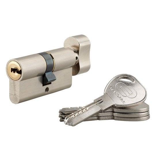 cylindre de serrure bouton sur num ro mm standers mod le rouge leroy merlin. Black Bedroom Furniture Sets. Home Design Ideas