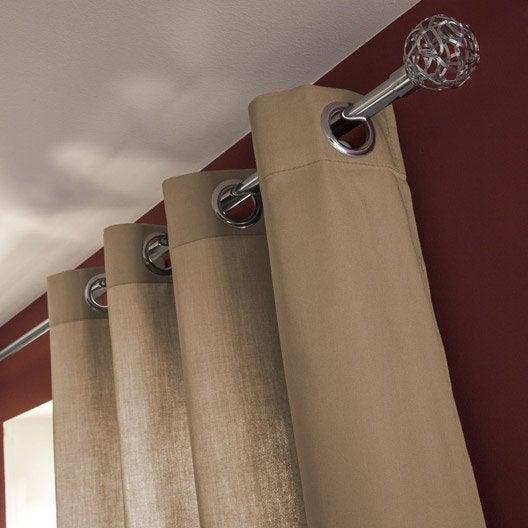 Rideau tamisant, Roma, gris doré n°5, l.140 x H.240 cm INSPIRE