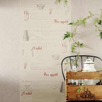 papier peint recettes rouge et gris intiss bon app tit leroy merlin. Black Bedroom Furniture Sets. Home Design Ideas