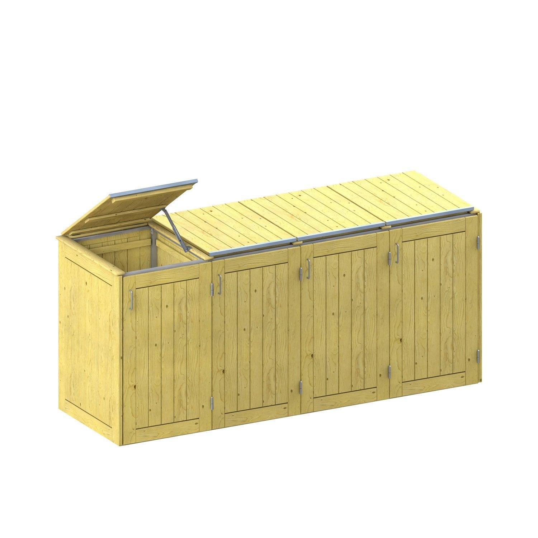 cache-poubelle binto, bois clair, l.282 x h.129 x p.86 | leroy merlin