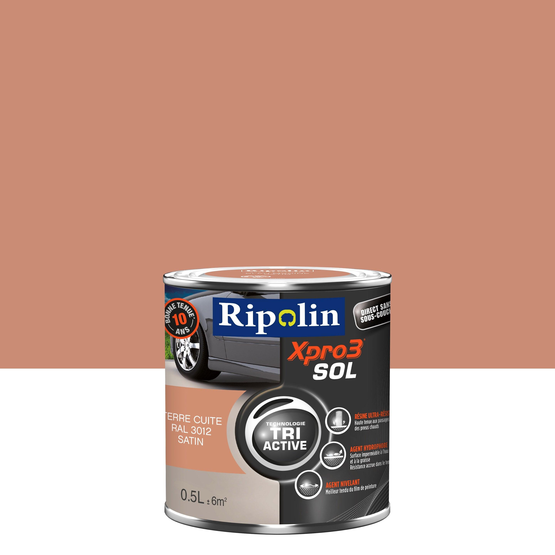 Peinture Couleur Terre Cuite peinture sol extérieur / intérieur xpro 3 ripolin, terre cuite, 0.5 l