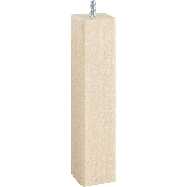 pied de lit sommier carr fixe h tre brut blanc beige naturels 25 cm leroy merlin. Black Bedroom Furniture Sets. Home Design Ideas