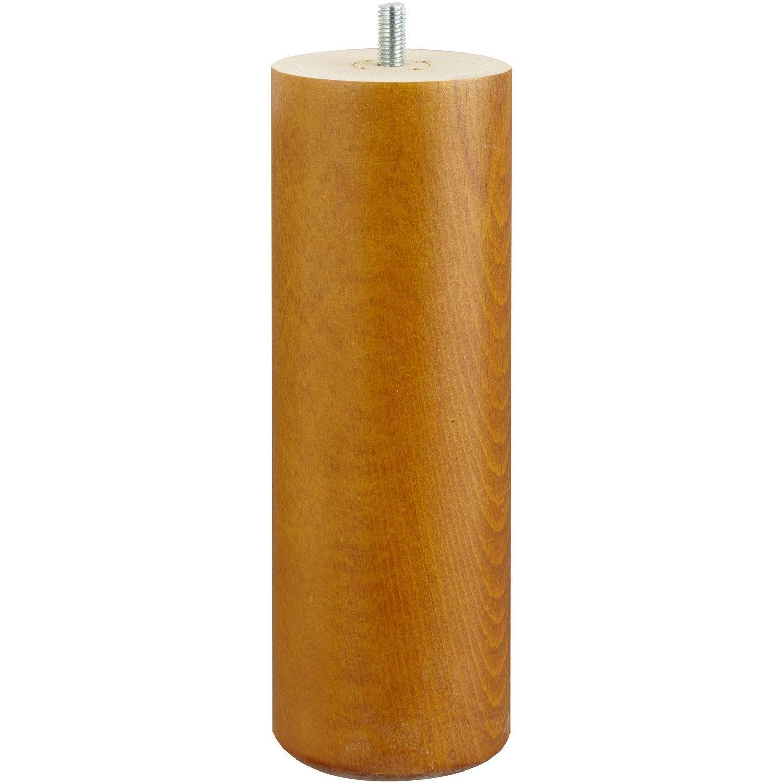 Pied De Lit Sommier Cylindrique Fixe Hêtre Teinté Marron 20 Cm