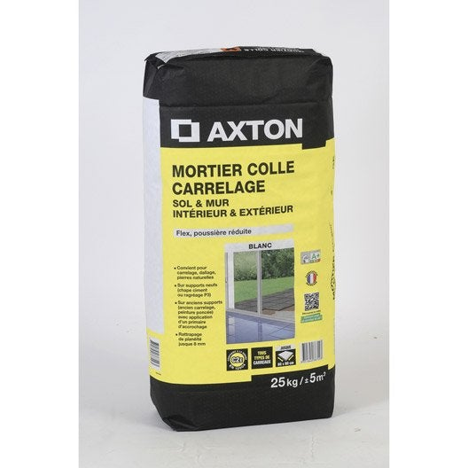 Mortier colle int rieur ext rieur blanc axton 25kg for Colle ciment exterieur