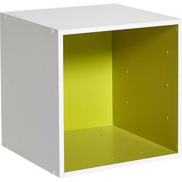 Etagère 1 case MULTIKAZ, vert blanc H.35.2 x l.35.2 x P.31.7 cm