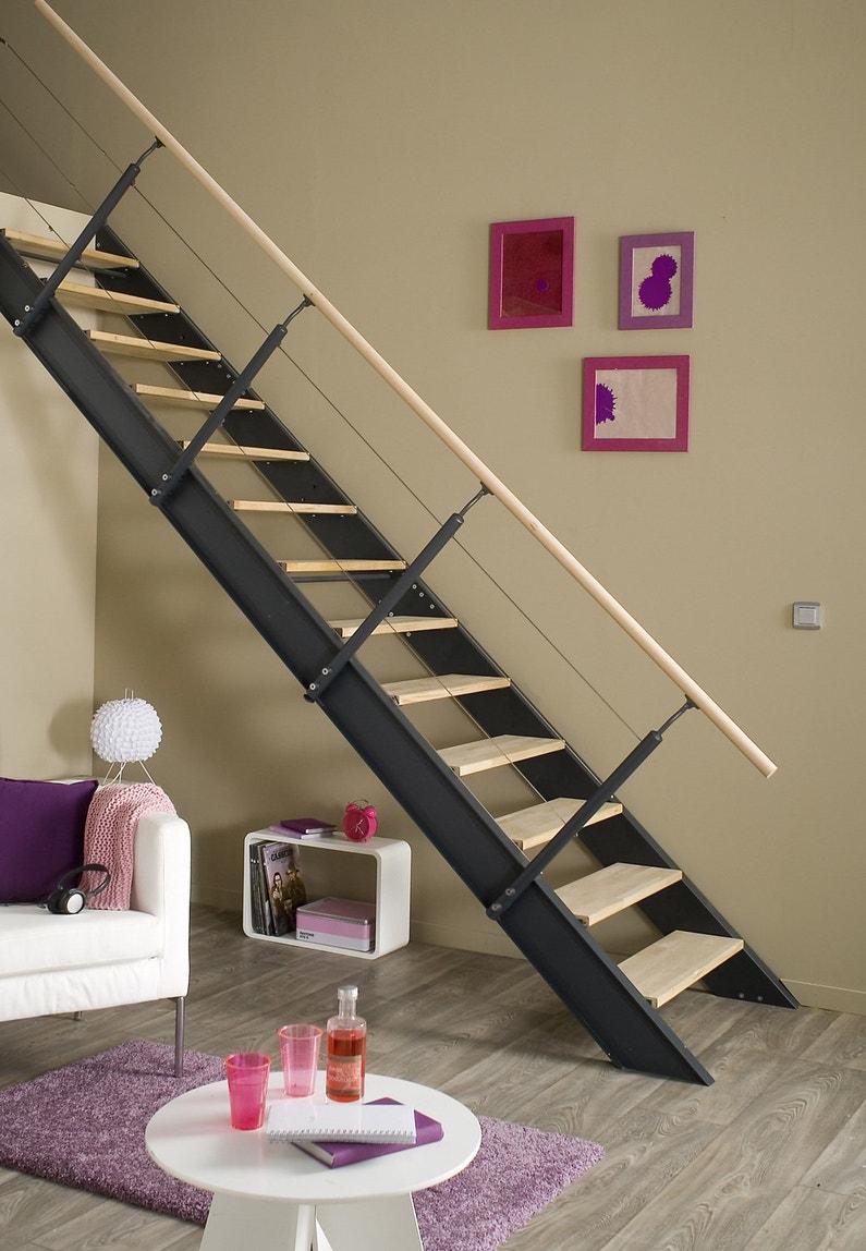 un escalier au style industriel mixant bois set acier. Black Bedroom Furniture Sets. Home Design Ideas