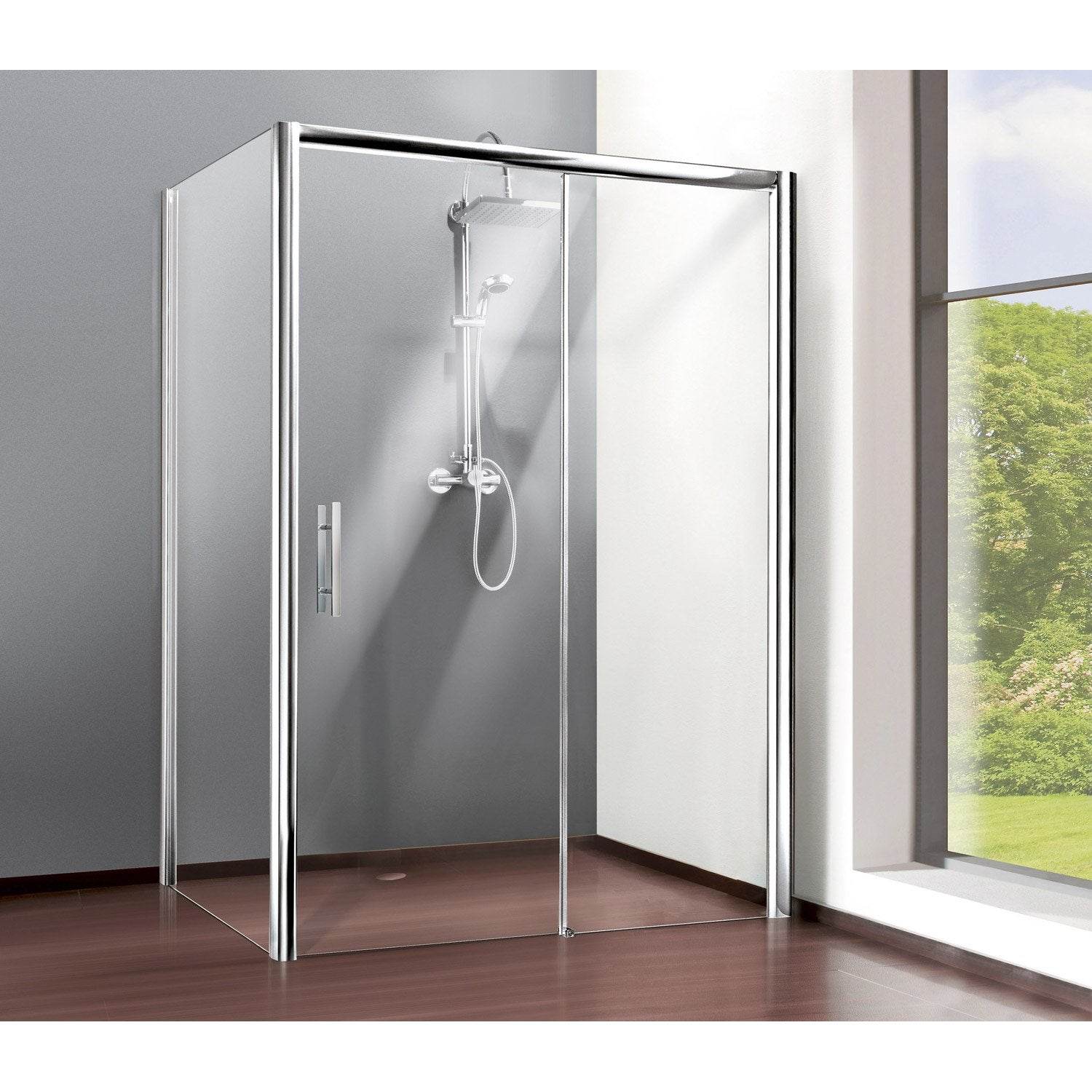 porte de douche coulissante 100 cm transparent adena leroy merlin. Black Bedroom Furniture Sets. Home Design Ideas