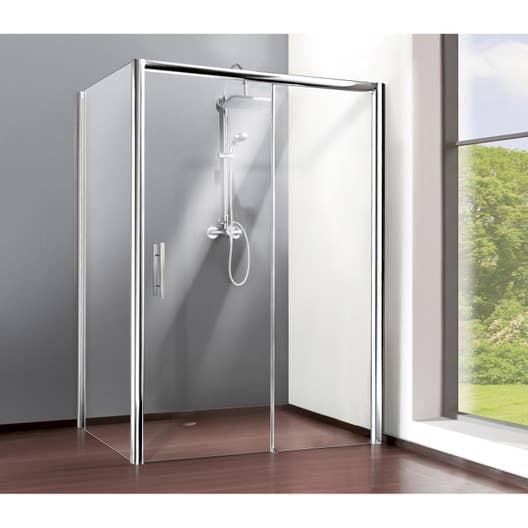 Porte de douche coulissante 100 cm, transparent, Adena   Leroy Merlin