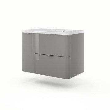 meuble de salle de bains de 80 99 gris argent neo shine leroy merlin. Black Bedroom Furniture Sets. Home Design Ideas