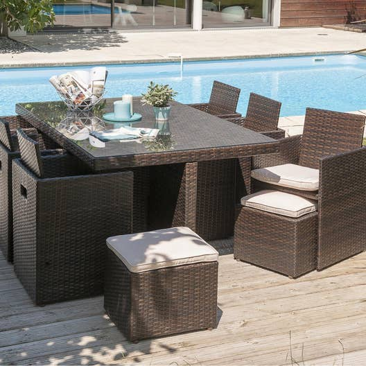 salon de jardin encastrable r sine tress e chocolat 10. Black Bedroom Furniture Sets. Home Design Ideas