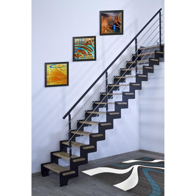 Escalier Droit Acier Noir Cremaillere 14 Marches Hetre Verni L 85 Cm