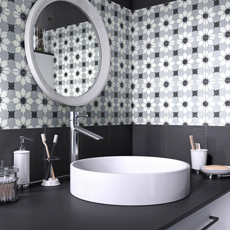 Carreau de ciment Belle époque décor lucie gris, noir et blanc, l ...