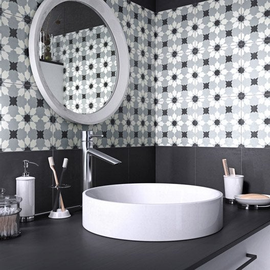 Carreau de ciment belle poque d cor lucie gris noir et - Carreau de ciment noir et blanc ...