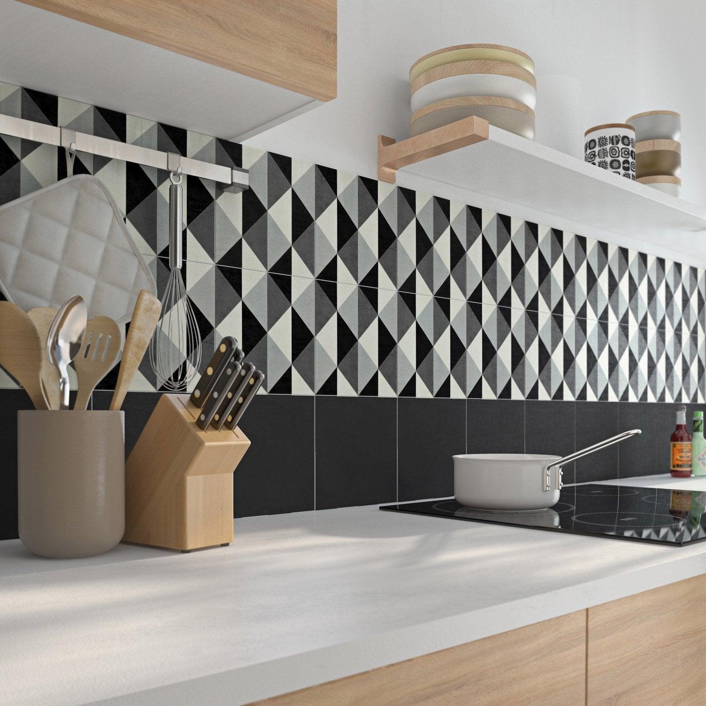 Carreau de ciment mur ciment gris, noir, blanc mat l.20 x L.20 cm, Belle époque