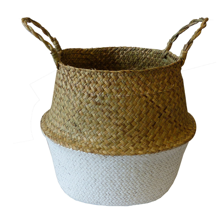 Panier fibre naturelle blanc H.35 x l.35 x P.35 cm