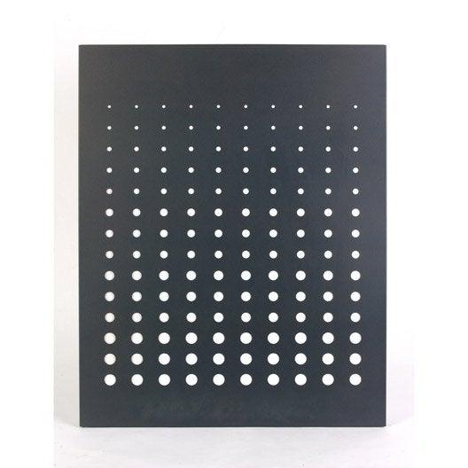 Plaque de protection murale en acier coloris noir givr simetria 80 x 100 cm leroy merlin - Plaque acier protection poele ...