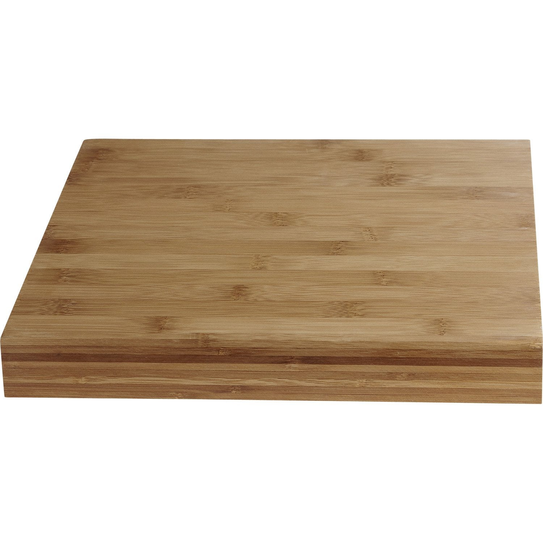 Plan de travail bois Bambou pré huilé Satiné L.18 x P.18 cm, Ep.18 mm