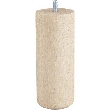 Lot de 4 pieds de meuble cylindrique fixes hêtre brut blanc/beige/naturels, 15cm