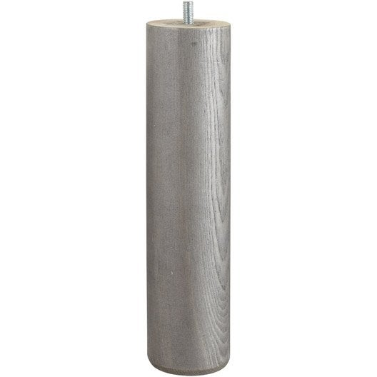 pied de lit sommier cylindrique fixe pin teint gris 25 cm leroy merlin. Black Bedroom Furniture Sets. Home Design Ideas