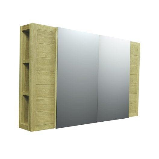 armoire de toilette fjord en bois l120xh70xp18 cm leroy merlin. Black Bedroom Furniture Sets. Home Design Ideas