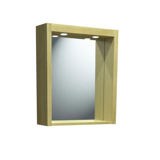 miroir avec clairage int gr fjord l60xh70xp18 cm leroy merlin. Black Bedroom Furniture Sets. Home Design Ideas