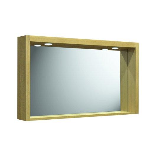 Miroir avec clairage int gr fjord en bois l120xh70xp18 for Miroir salle de bain leroy merlin